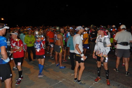 Runners at the start line, Friday at 6am